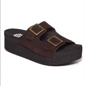 Yellow Box Birk Brown Suede Platform Sandals 8